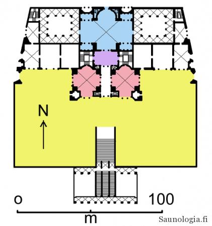 Ensimmäisen, keisari Tituksen Roomaan rakennuttaman termin pohjakaava. Termeistä ei ole jäänyt juurikaan historiallisia kuvalähteitä. Kuva: Wikimedia